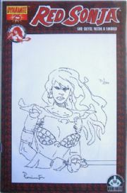 Red Sonja #25 Dynamic Forces Sketch Variant Comic Signed Remarked Mark Pennington DF COA #71/100